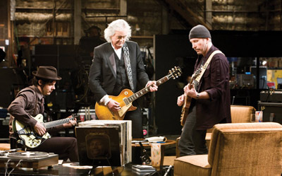 A todo volume - Jimmy Page, The Edge e Jack White